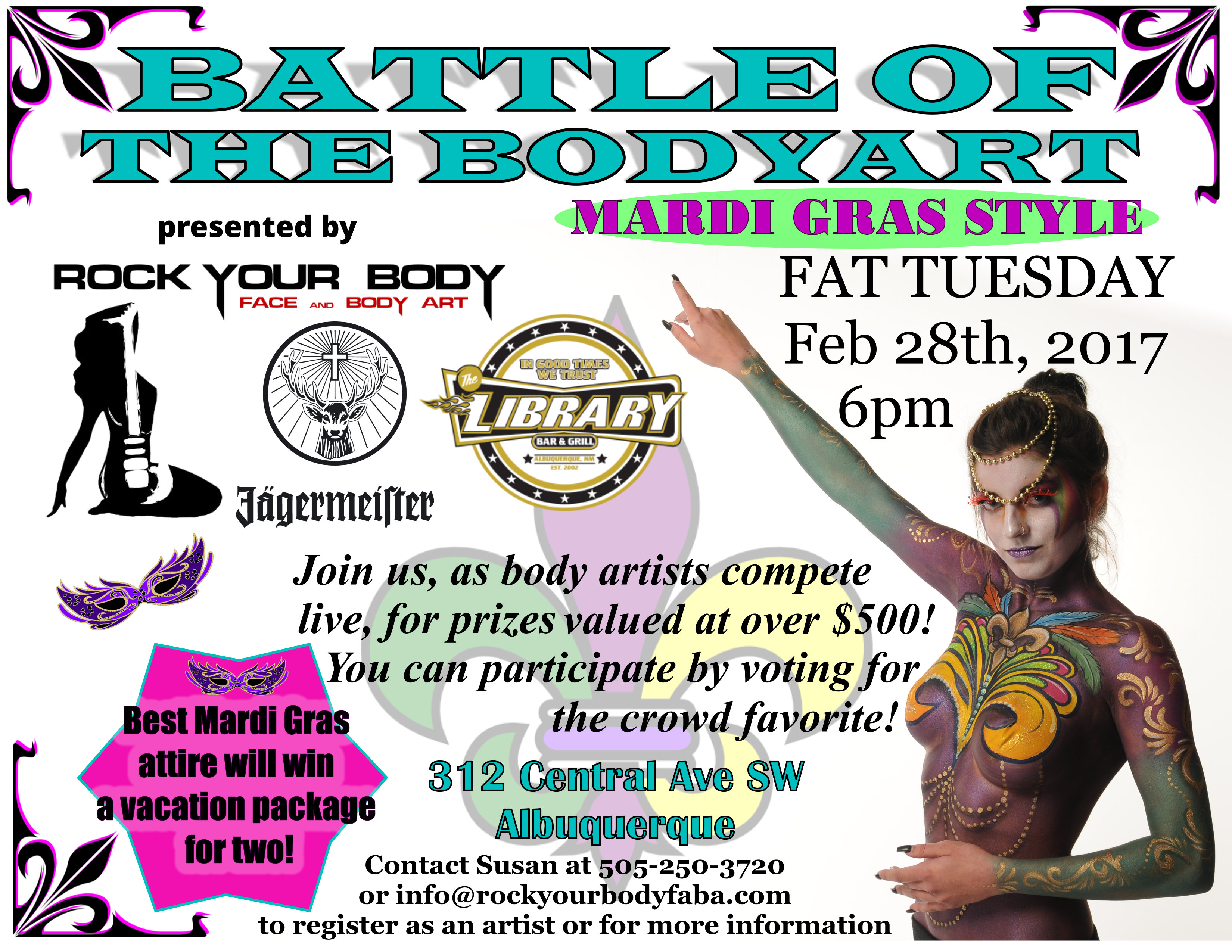Battle of the bodyart mardi gras style at the library bar for Craft shows in albuquerque 2017