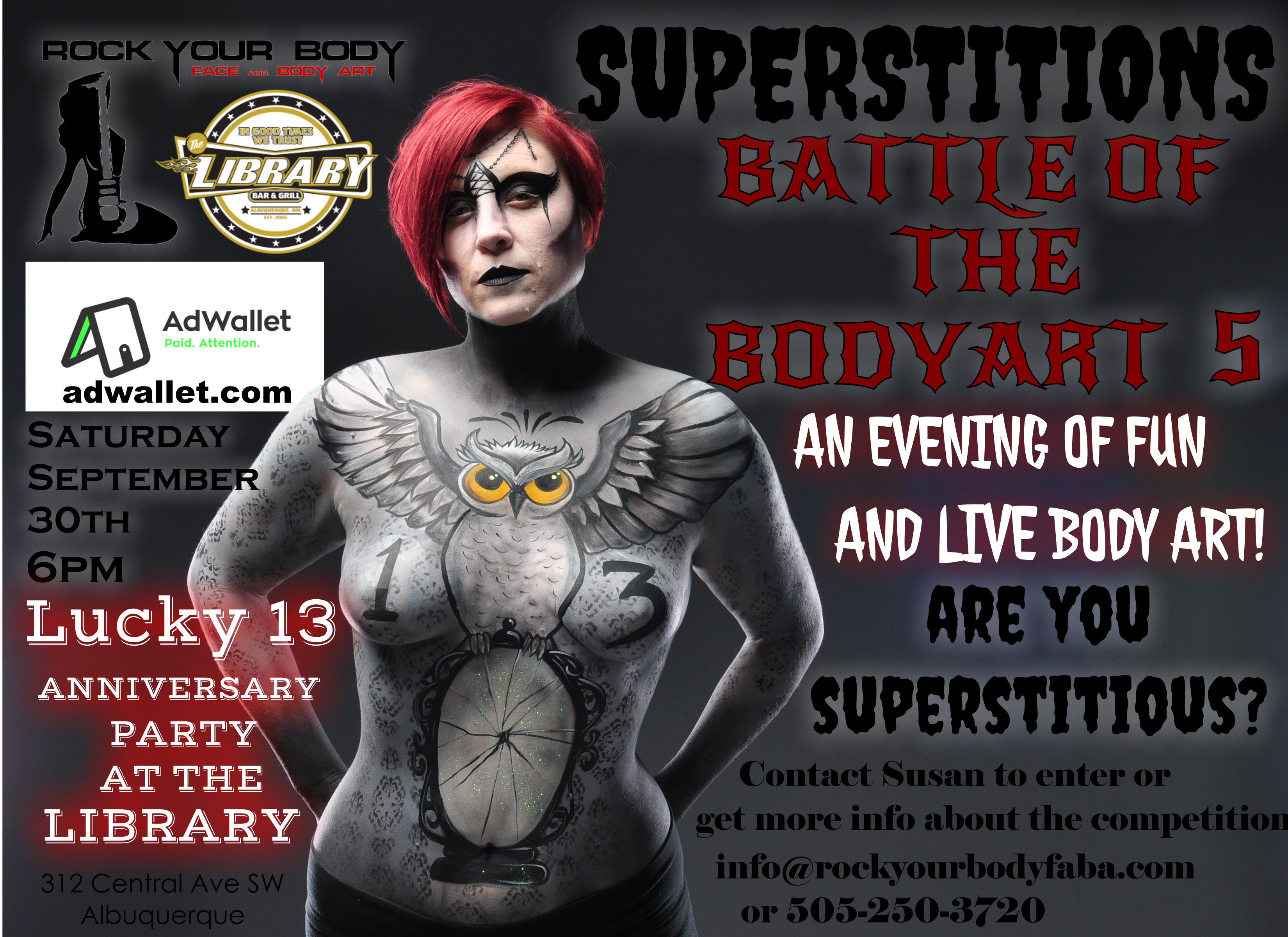 Battle Of The Bodyart Five Superstitions At The Library Bar Grill Albuquerque