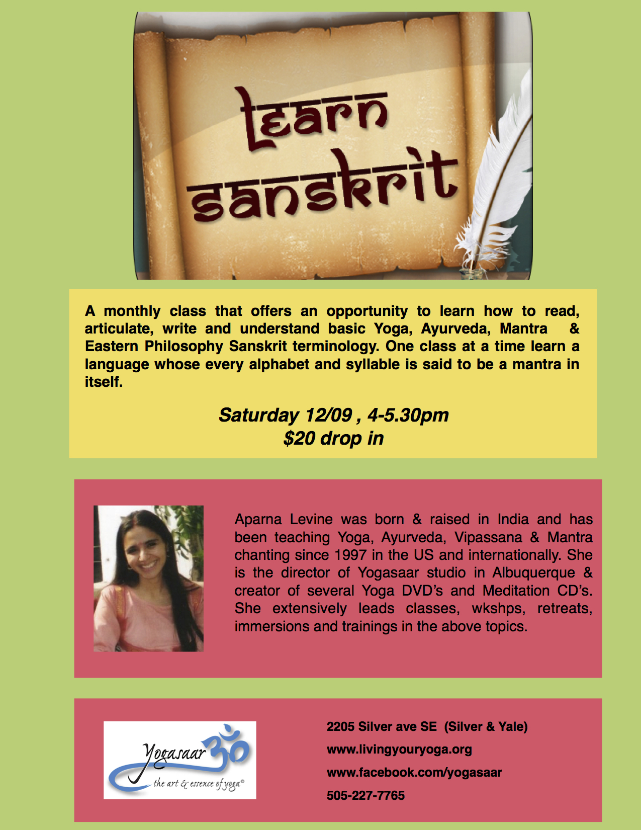 Learn Sanscrit: The Language of Yoga at Yogasaar, Albuquerque