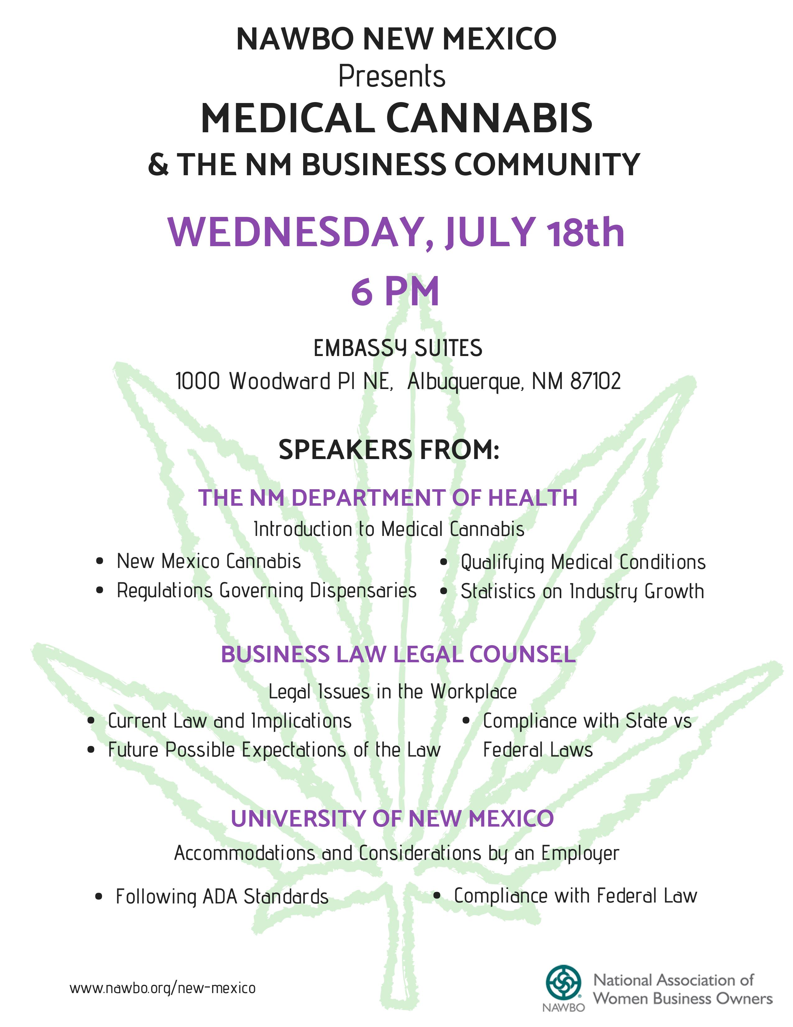 Medical Cannabis and the N M  Business Community at Embassy