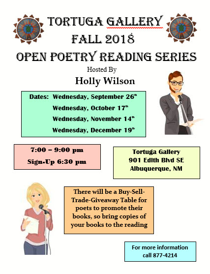 Tortuga Gallery Fall 2018 Open Reading Series Flyer