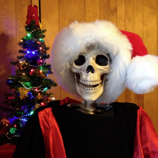 Death Cafe mascot Lola is ready for the holidays.